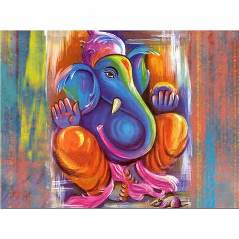 Hand Painted Modern Art High Quality Ganesha Paintings Canvas Oil Painting For Living Room Hallway Home Decoration Fine Art Ganesha Painting Lord Ganesha Paintings Ganesha Art