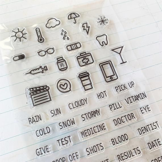 #Clear #Fitness #health #Small #stamps #symbols #weather 47 Health and Fitness Small Clear Stamps -...
