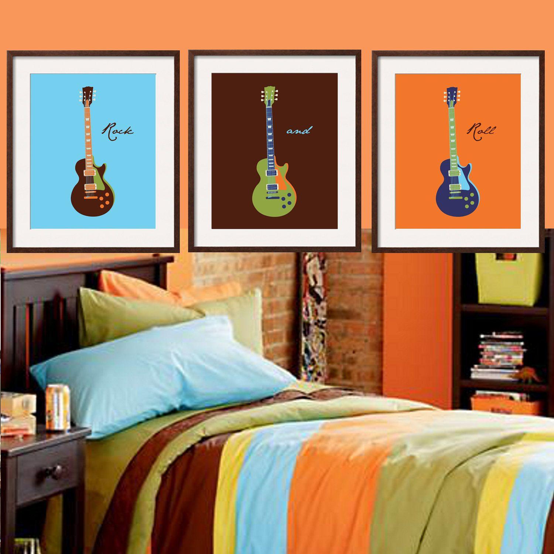 Guitar Art In Aqua Blue, Brown, Orange And Earthy Green 3
