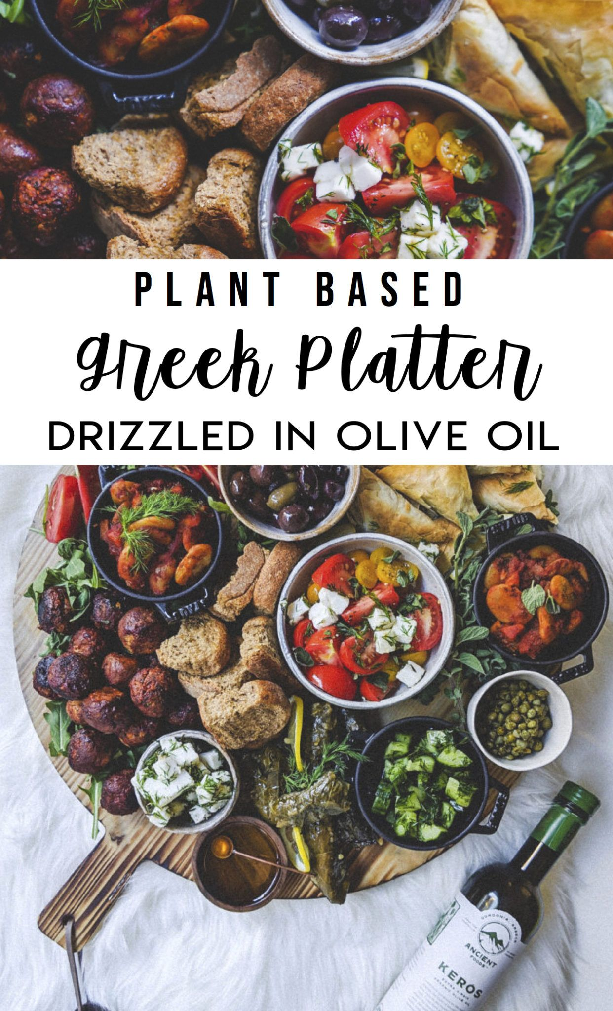 Photo of Plant Based Greek Platter Drizzled in Olive Oil – FoodByMaria