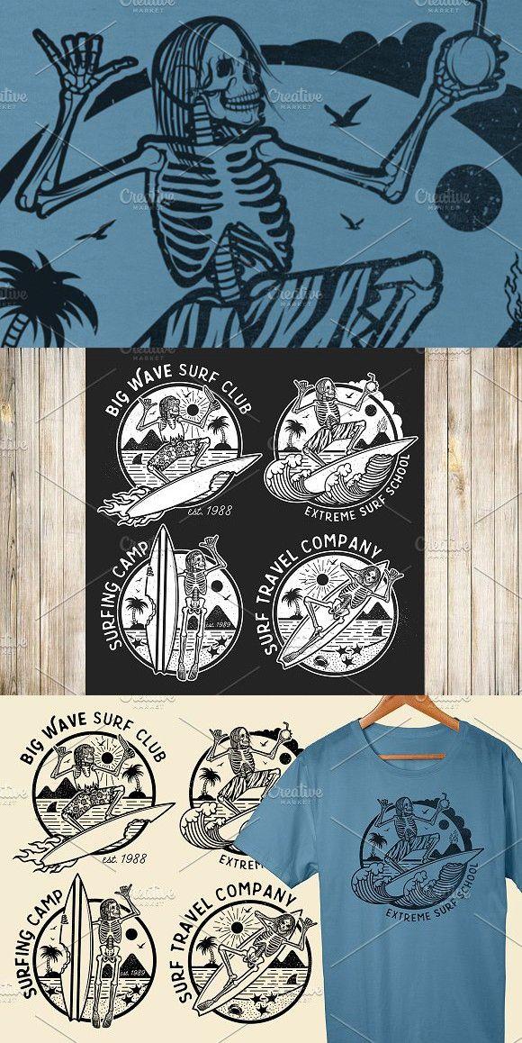 Skeleton Surfer Logo Templates Typography Skeleton Surfer