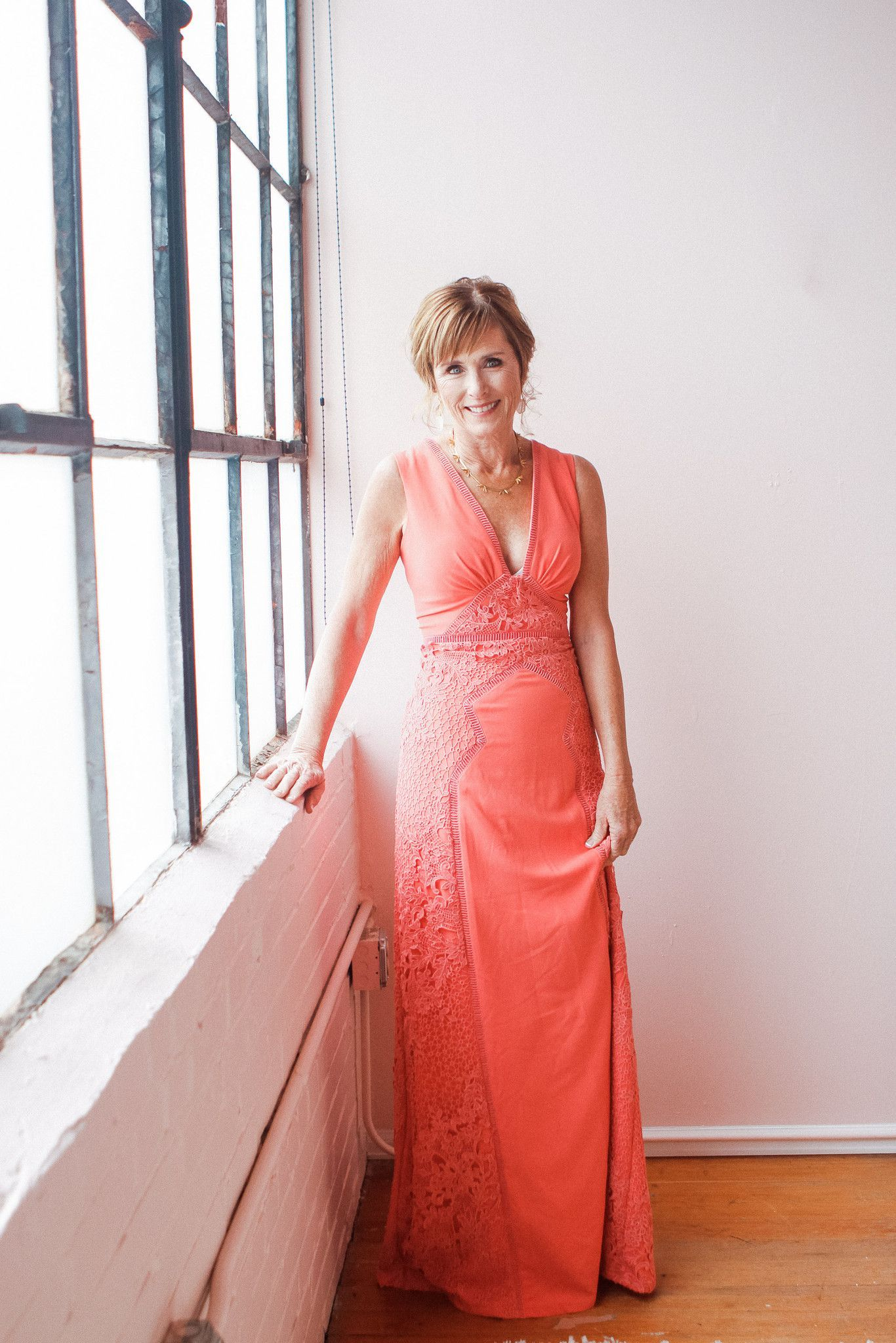 Coral Floor Length Mother of the Bride Gown – Photo by B.Schwartz ...