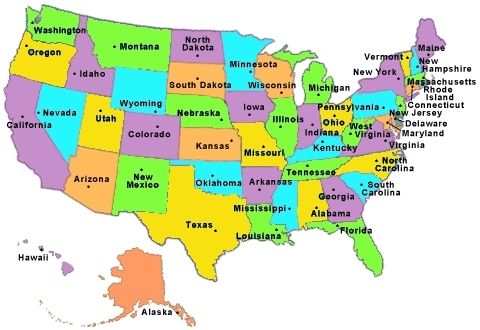 50 States Map Game map of the united states with capitals map of