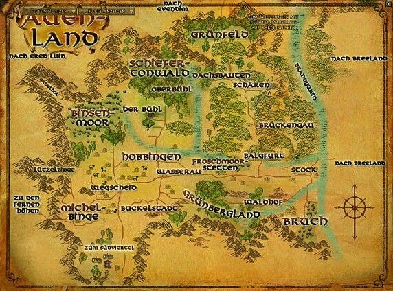 Auenland Karte Von Mittelerde Herr Der Ringe Mittelerde