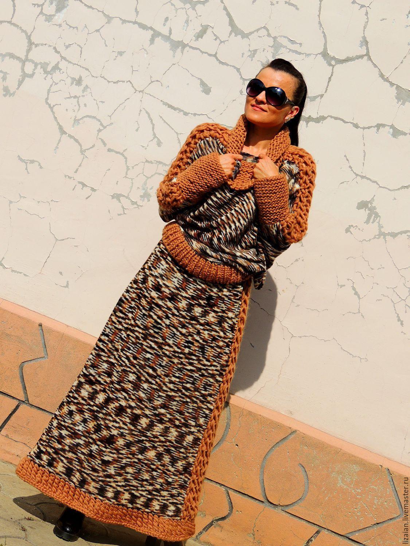Купить Осенний вязаный женский костюм (№188) - комбинированный ... 6933bf3a76bf1