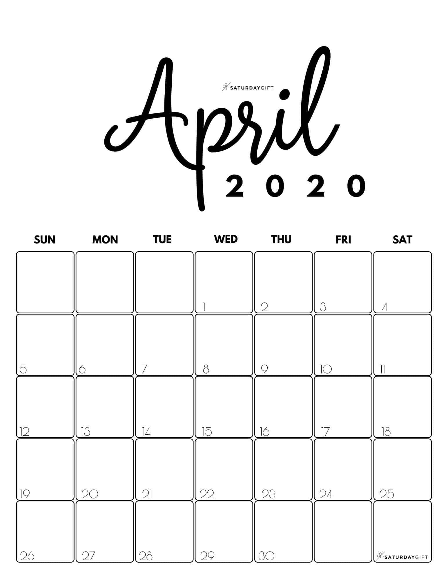 Cute Free Printable April 2021 Calendar Saturdaygift In 2020 Calendar Printables Calendar Design Calendar
