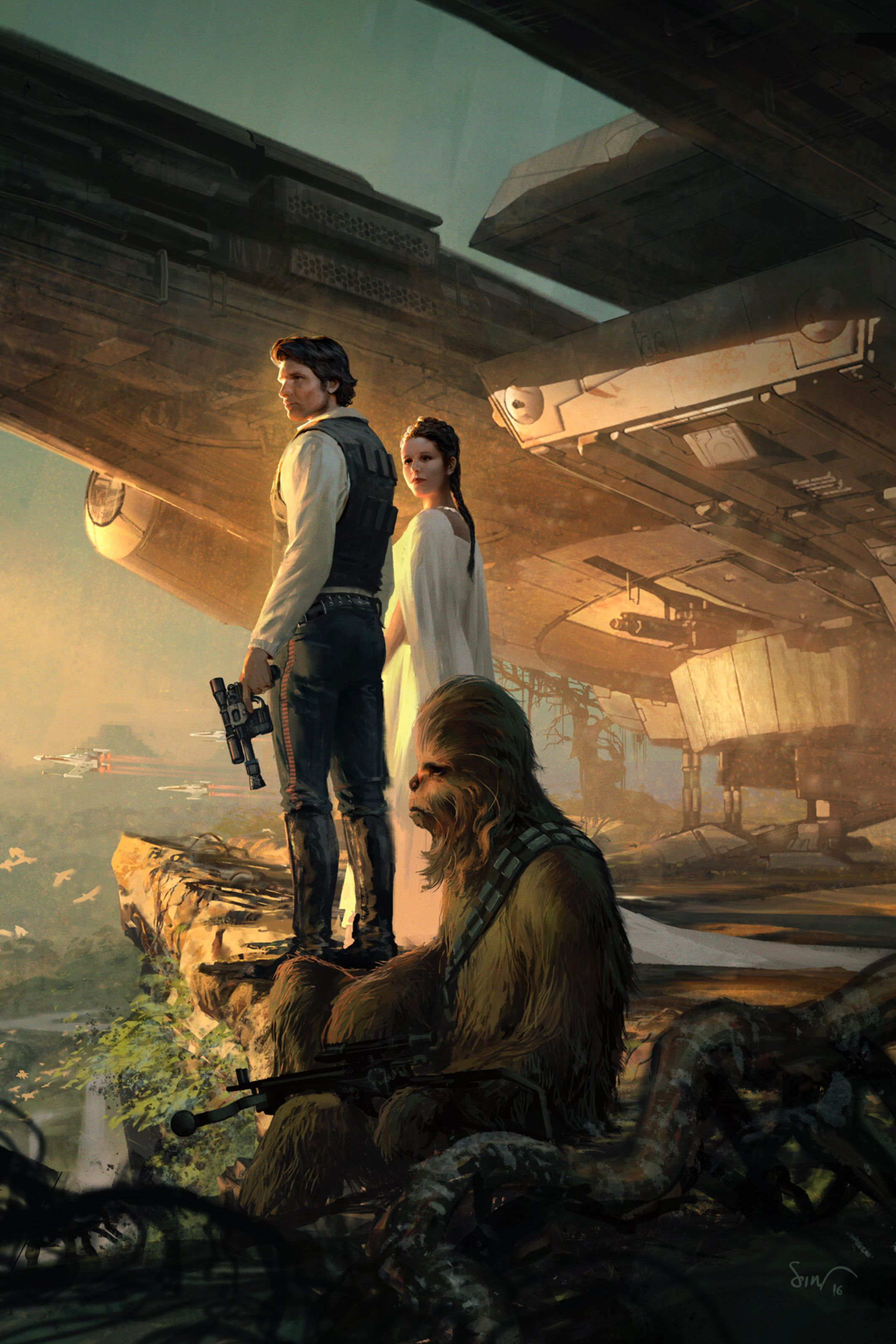 Han Solo Princess Leia Organa Chewbacca Star Wars Star Wars Illustration Star Wars Art Star Wars Poster