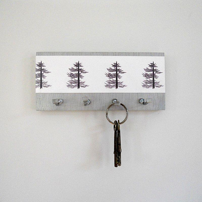 Modern Key Holder Wall Mount Key Rack Modern Pine Print