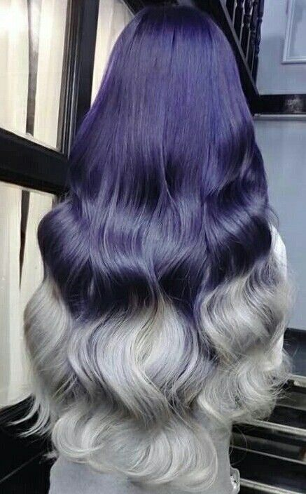 navy blue gray ombre dyed hair