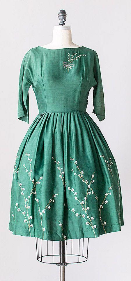 budding branch dress | vintage 1960s painted green silk dress