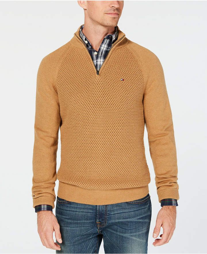abc071d44 Men s Waffle Knit Quarter-Zip Sweater