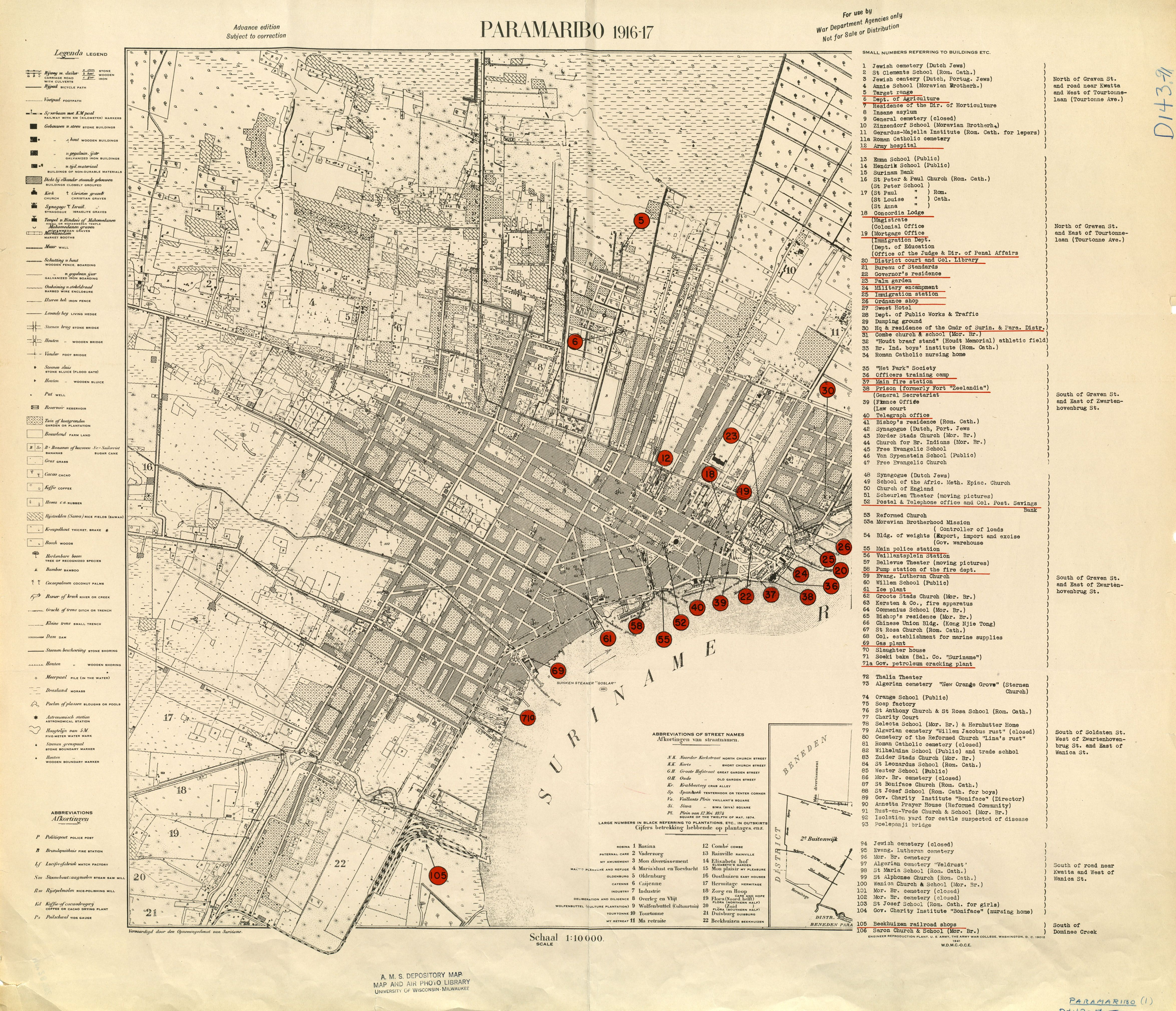 Paramaribo Capital City Of Suriname 1916 17 Map Surinam
