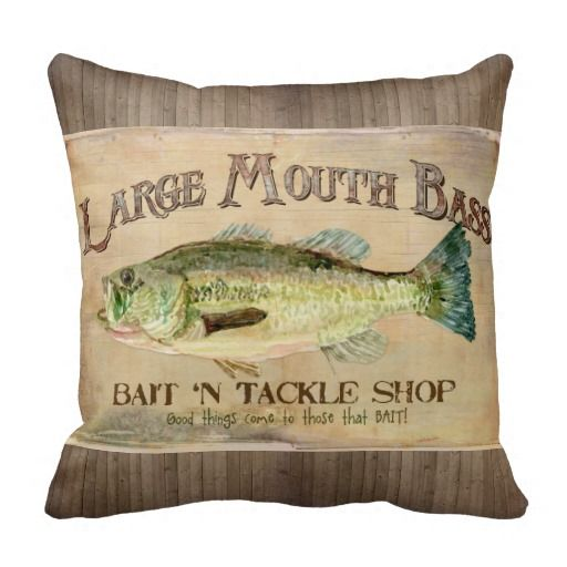 Large Mouth Bass Fisherman Cabin Wood Boards Throw Pillow Zazzle