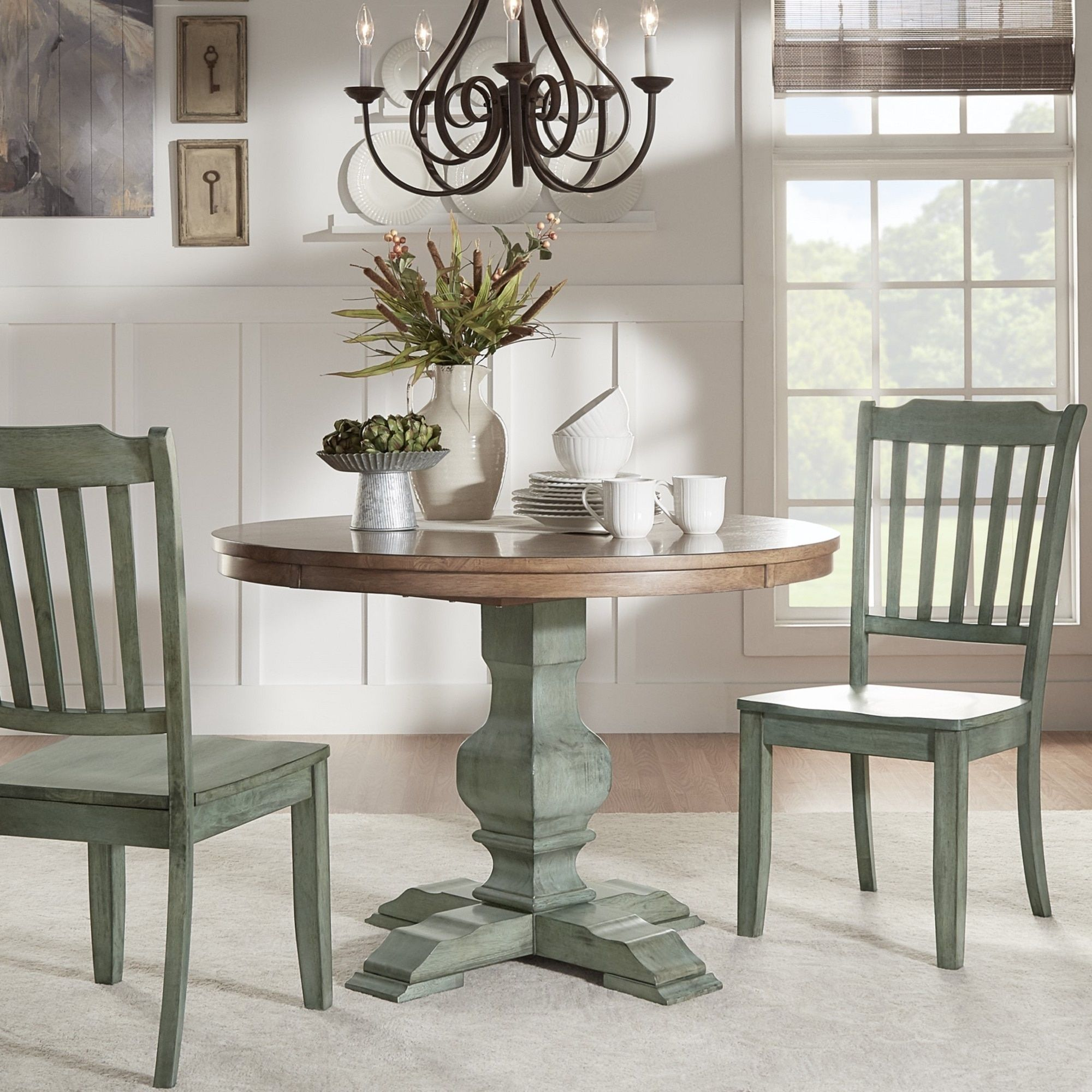 eleanor two tone round solid wood top dining table by tribecca