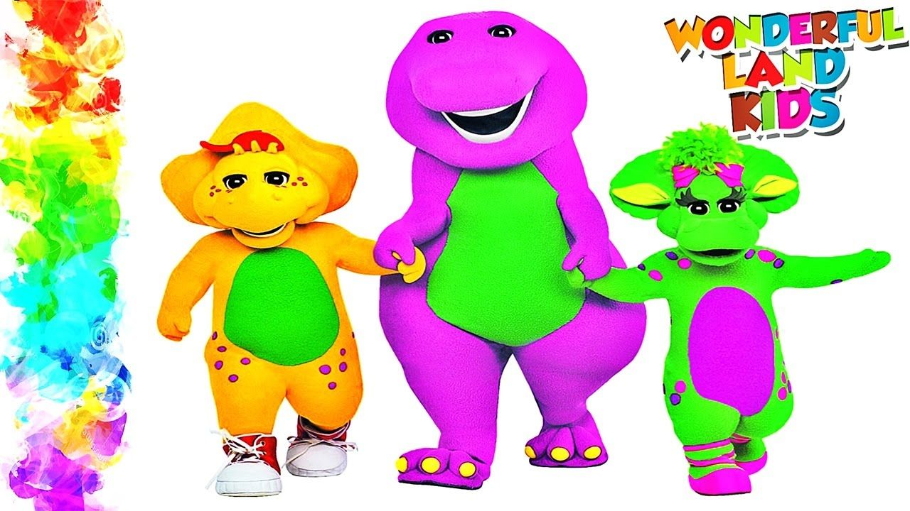Barney watercolor painting coloring page / Coloring pages Educational tu...