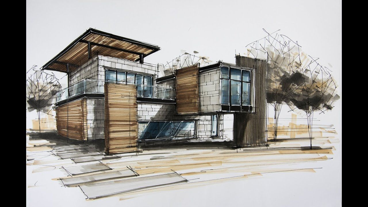 architecture sketching house 8 - PaintingTube