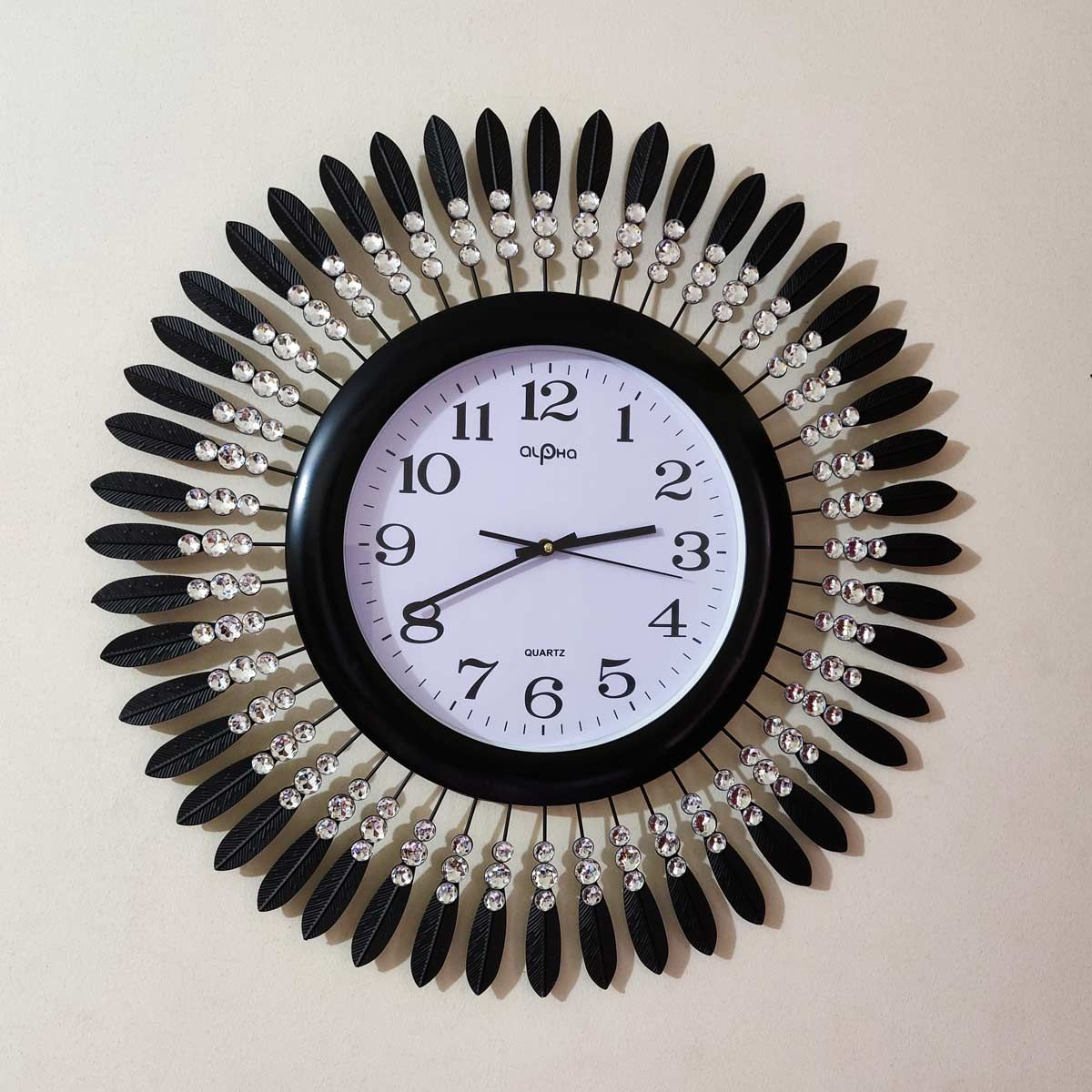 Edge Black Metal Leaves Design With White Stone And White Dial With Black Edge Wall Clock Wall Clock Clock Metal Leaves