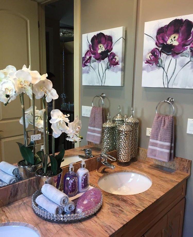 Leinwand Blumenbilder Emily Könnte Für Eines Der Badezimmer Machen Spa Bathroom Decor Purple Bathroom Decor Restroom Decor