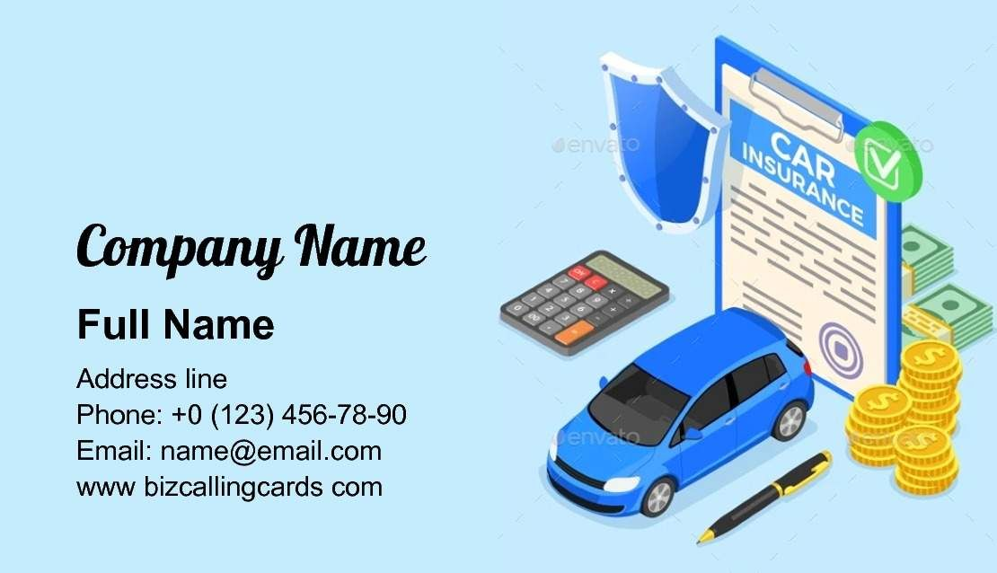 Create Online Car Insurance Protection Business Card Template In