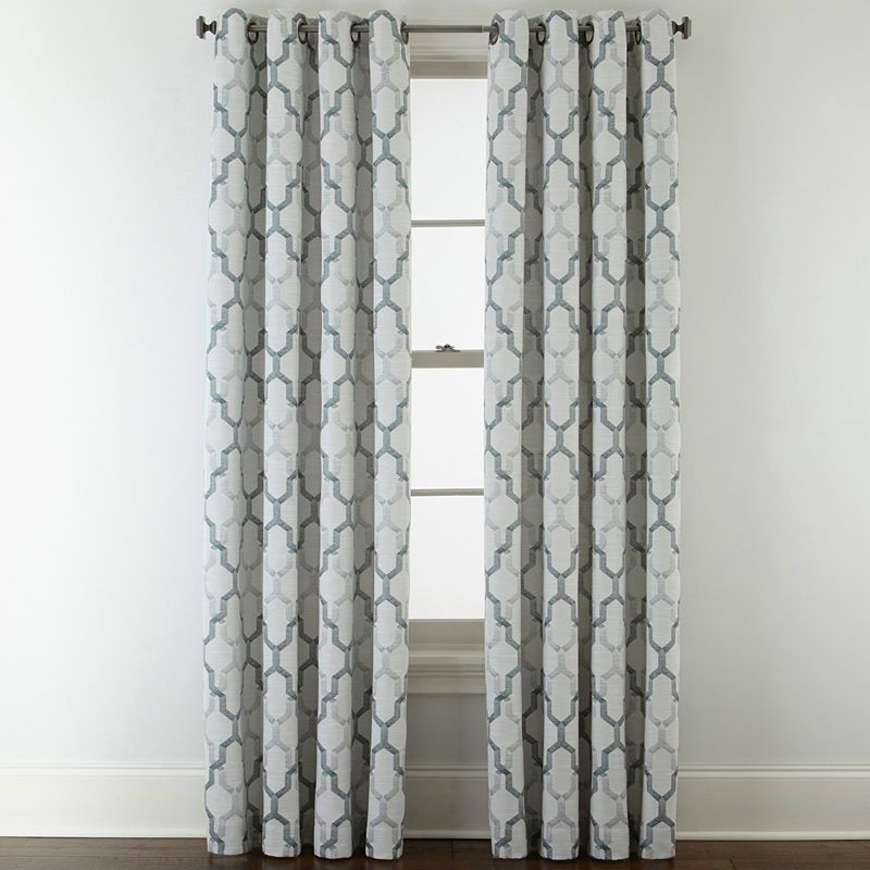 Jcpenney Home Casey Jacquard Grommet Top Curtain Panel Grommet