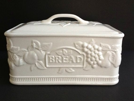 White Ceramic Bread Box Made In Portugal Fruit Motif Ceramic