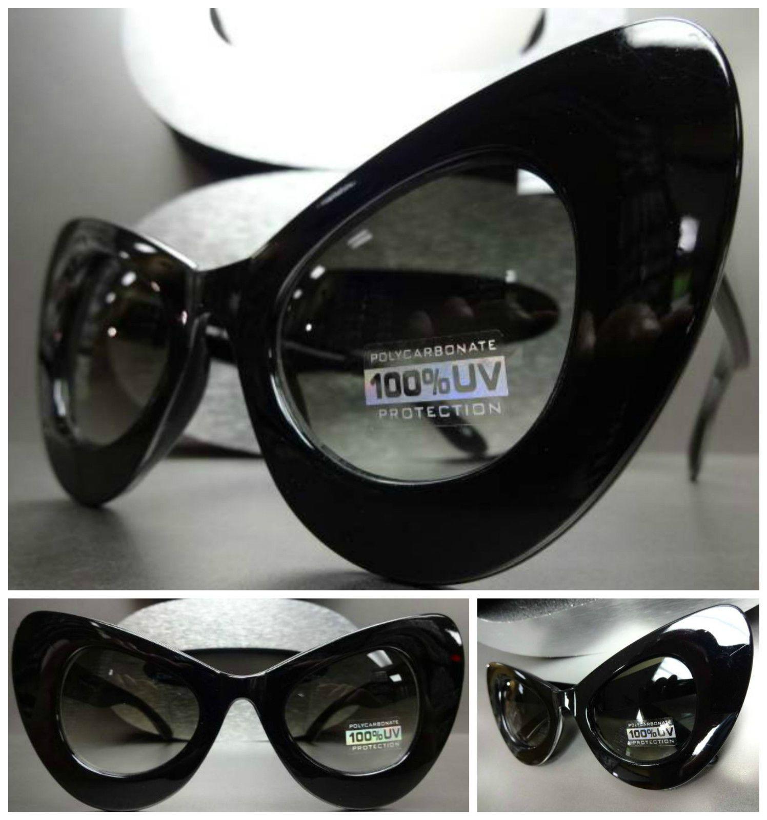 41939c056b1d Oversize Exaggerated Vintage 60 s Cat Eye Style Sun Glasses Large Black  Frame