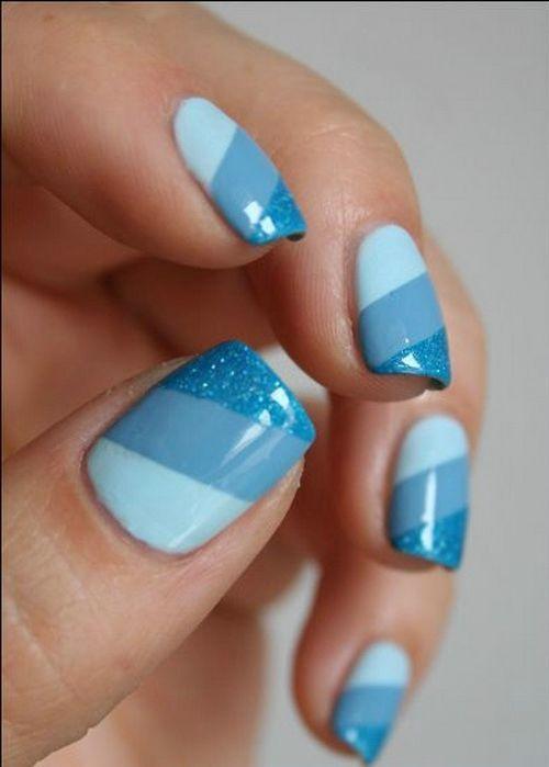 blue nail polish design