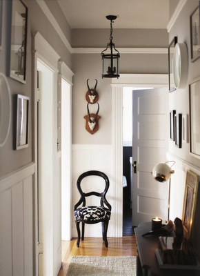 grey walls and white wood paneling
