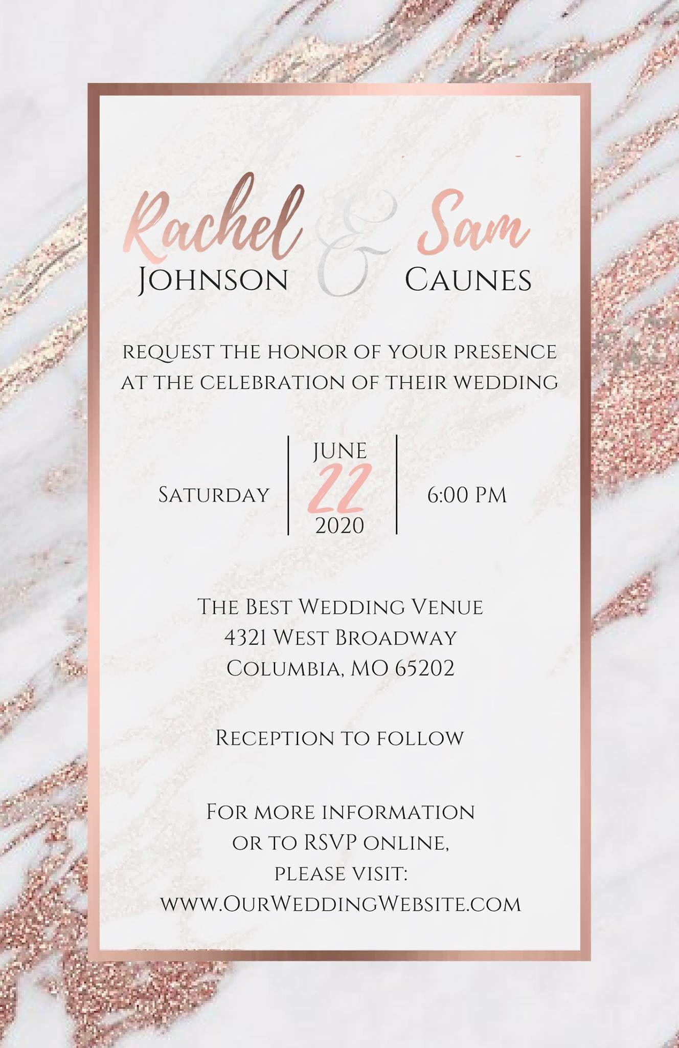 Layout Partecipazioni Matrimonio.Rose Gold Marble Elegant Wedding Invitations With Images