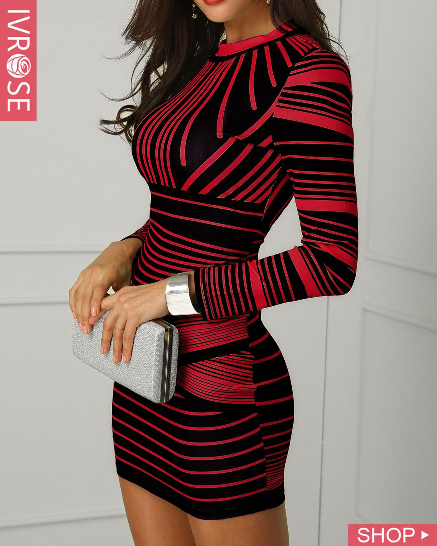 Contrast Striped Long Sleeve Bodycon Dress  Bodycon dress with