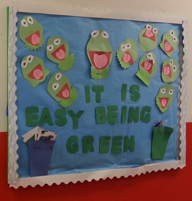 Bulletin Board Ideas With Frogs: Kermit The Frog Bulletin Board For Going Green Month In