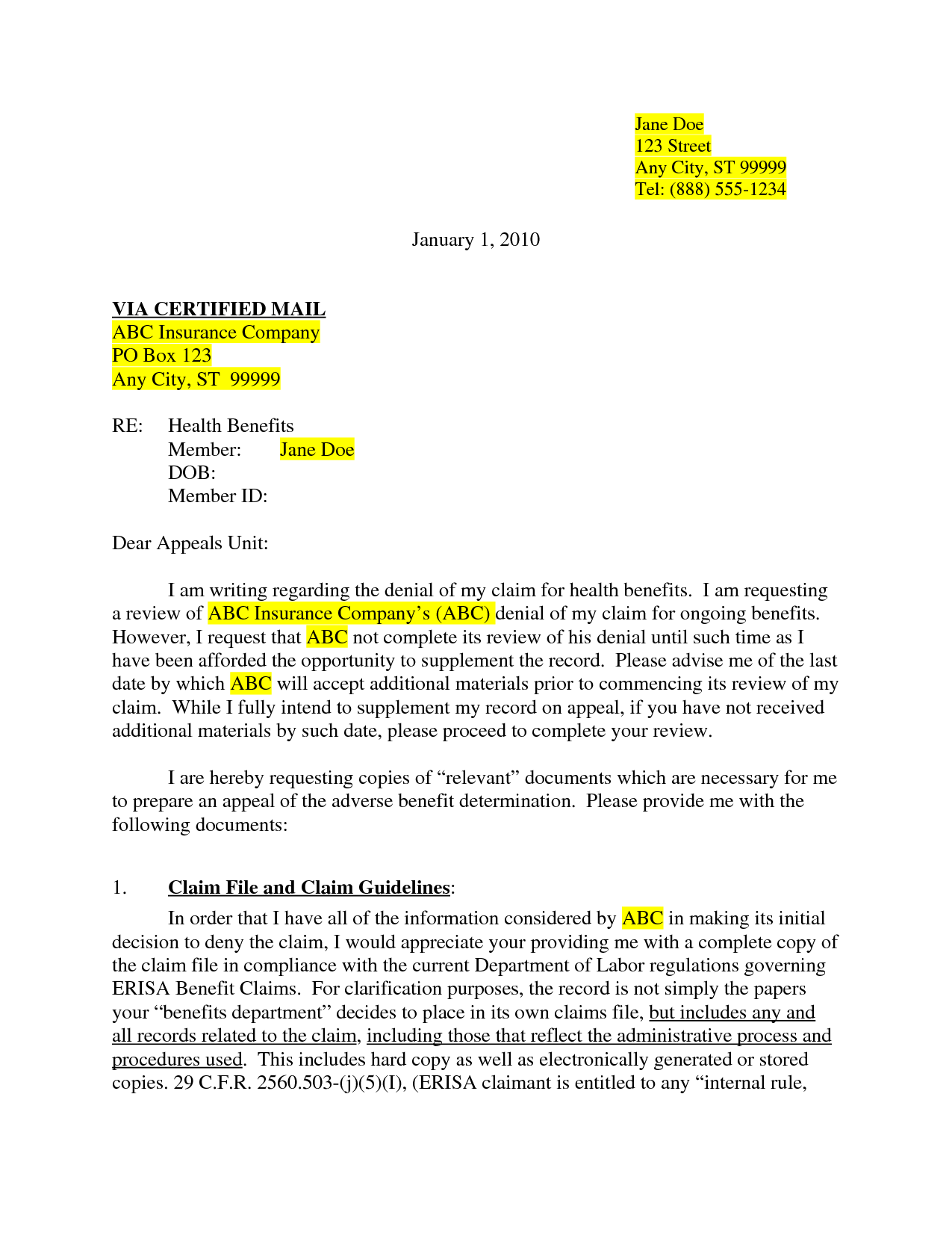 photos insurance appeal letter sample letters dental car pictures