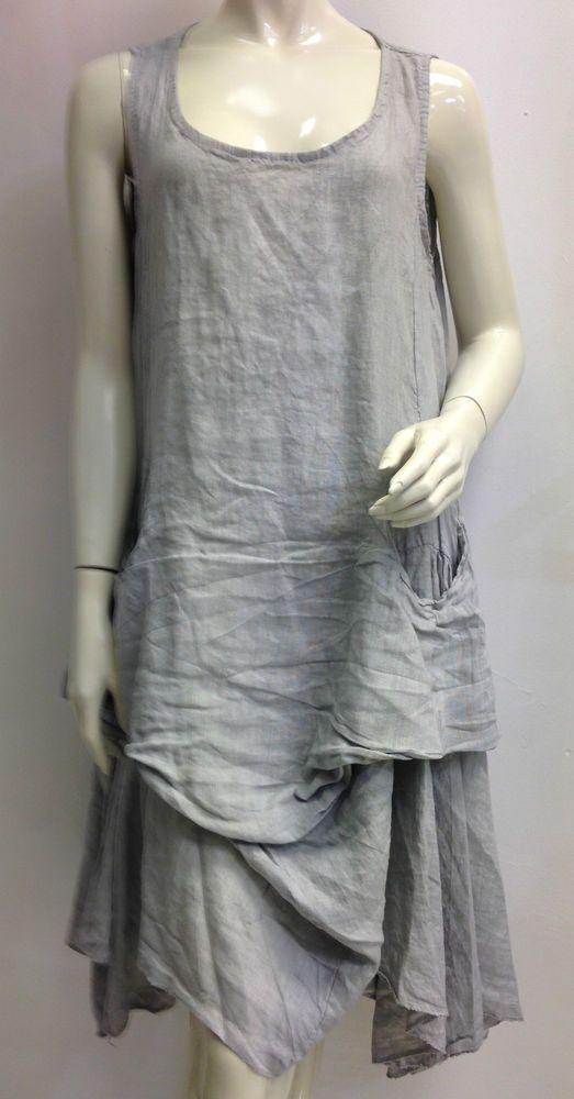 Italian Lagenlook Layering Parachute Dress Made In Italy Linen Tunic Plus Size Linen Dress Linen Tunic Linen Layers