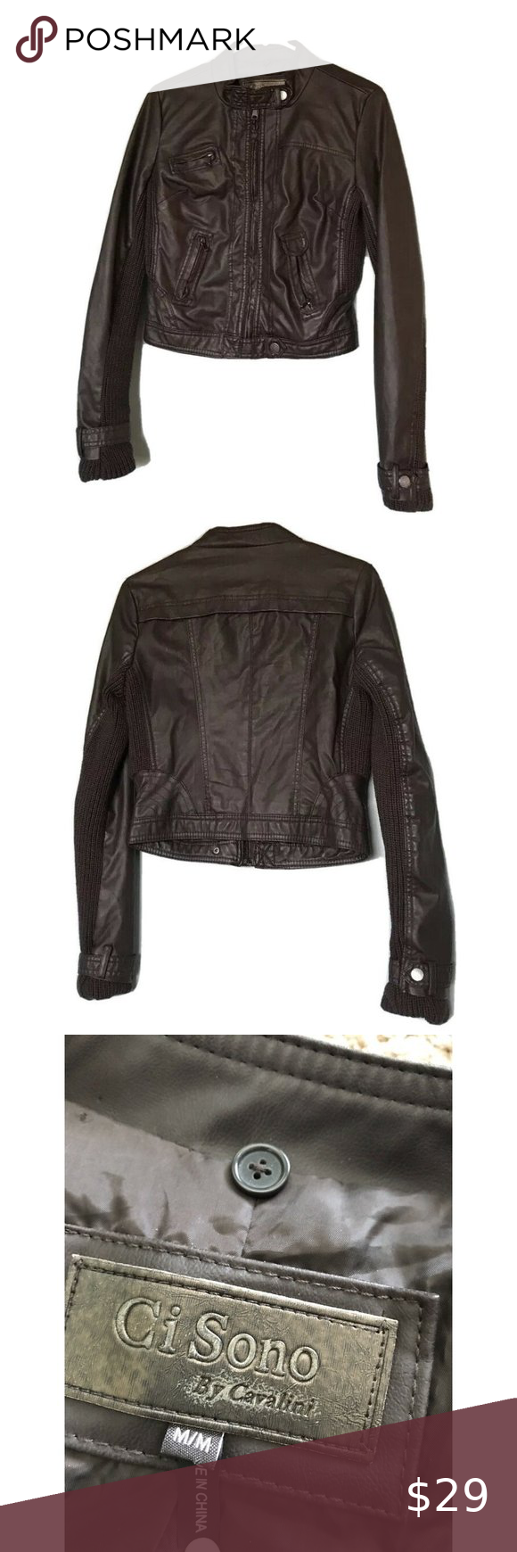 Ci Sono By Cavalini Faux Leather Cropped Jacket M Crop Jacket Jackets Leather Jacket