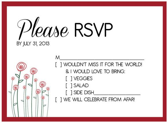Potluck Wedding Reception Rsvp Holding Place For Happenin Things