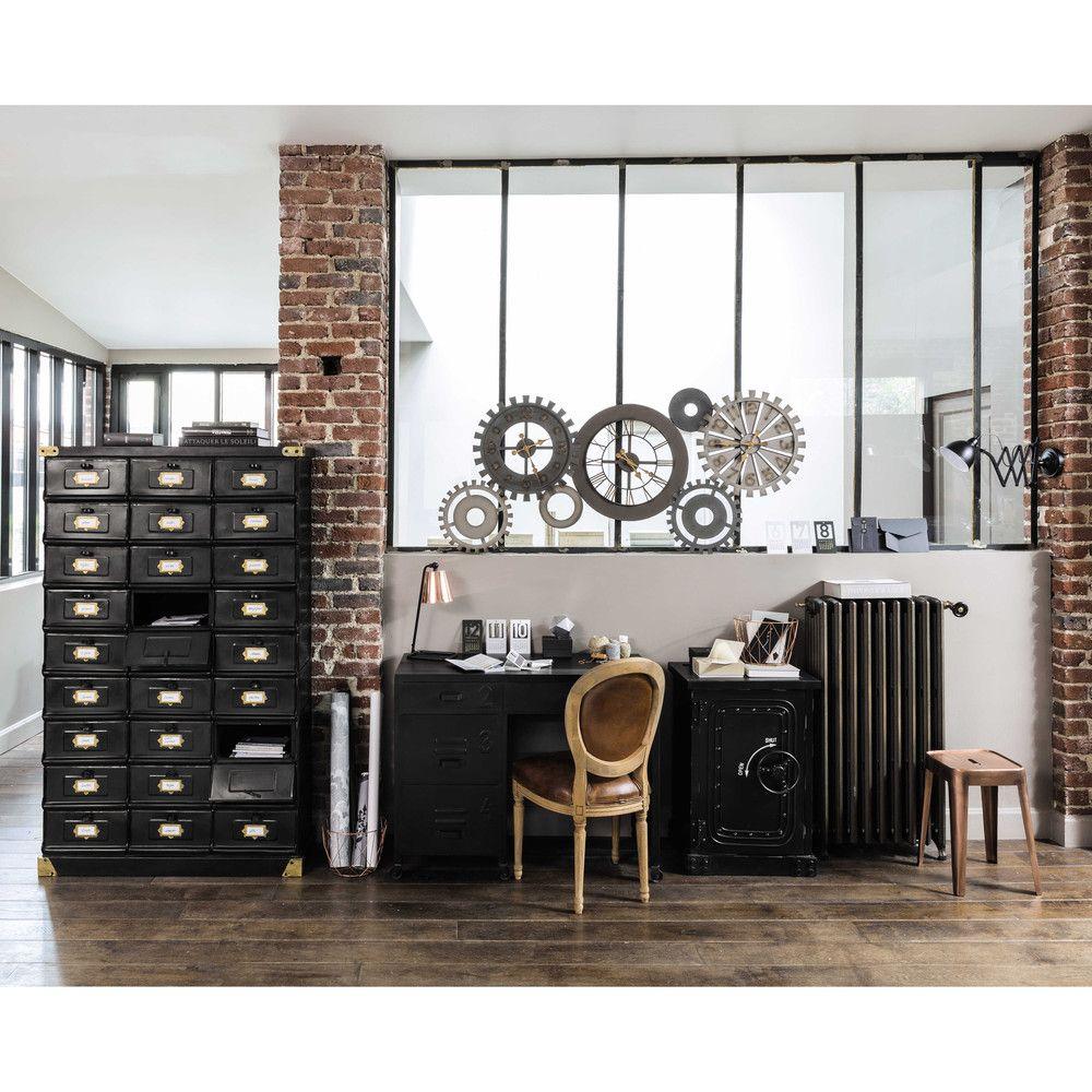 Cabinet De Rangement En Métal Noir L 104 Cm Deco