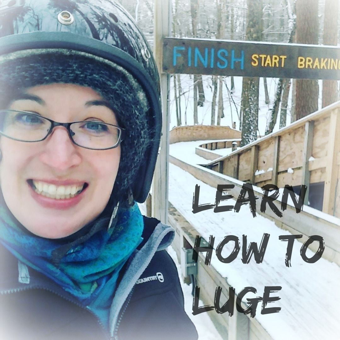 In which I learn how to luge at the Muskegon Winter Sports Complex. Or, more accurately, I learn how to repeatedly flip off of the luge.