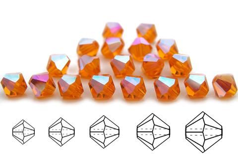 Czech MC Glass Bicone Beads Sun AB coated orange crystals Rondell//Diamond