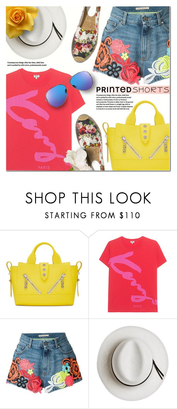 """Prints charming: A Short Story"" by anna-anica ❤ liked on Polyvore featuring Kenzo, Christopher Kane, Calypso Private Label, Summer, Color, kenzo and printedshorts"