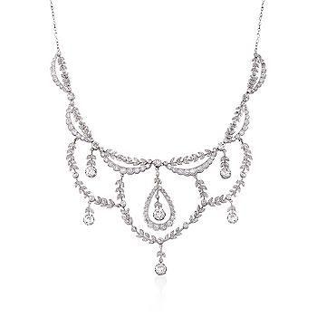 "Ross-Simons - C. 1915 Vintage 5.80 ct. t.w. Diamond Chandelier Fancy Necklace in Platinum. 15.5"" - #816571"