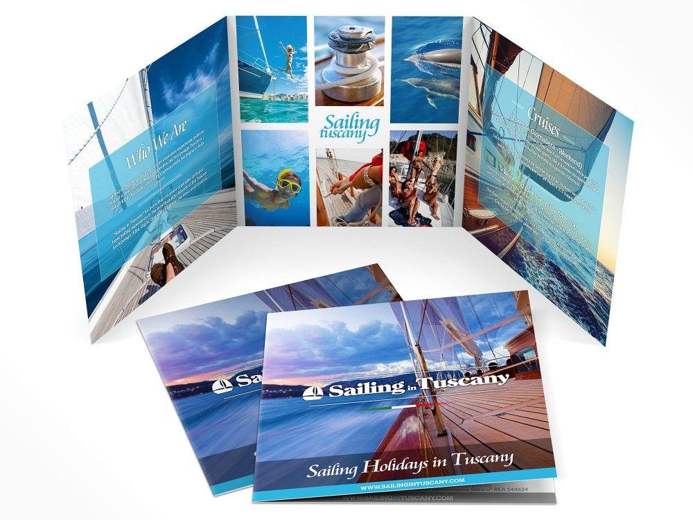 Grafica brochure per vacanze in barca a vela nell