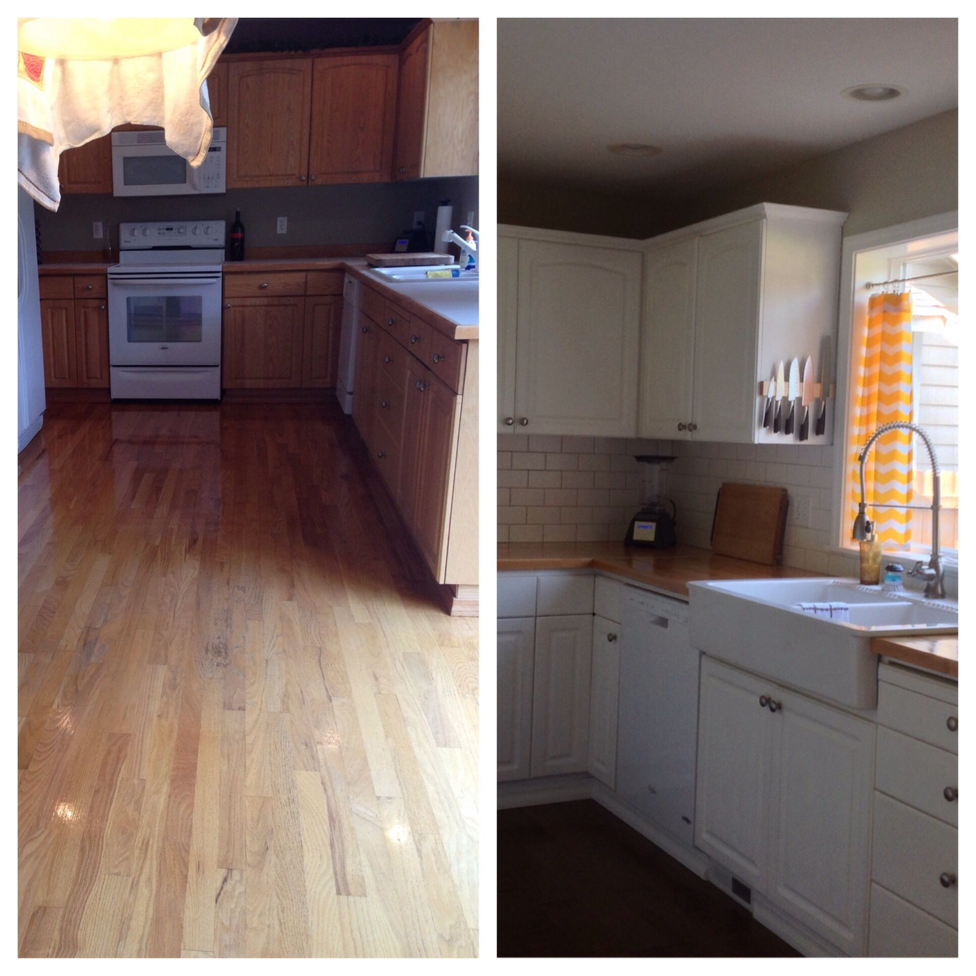 My DIY Kitchen Before And After, Ikea Butcher Block Counter Tops And Oak  Cabinets