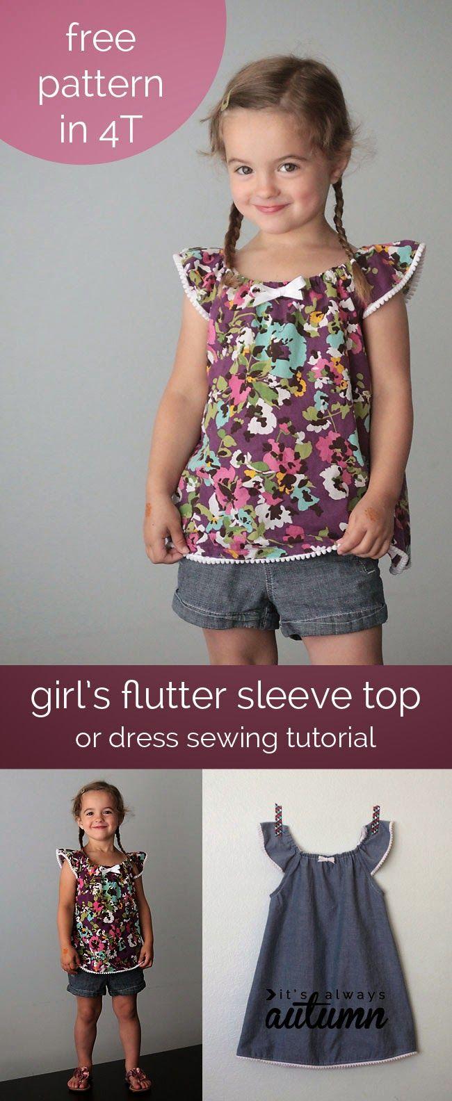Patrón gratis y tutorial: vestido o blusa niña talla 4 | Nähen ...