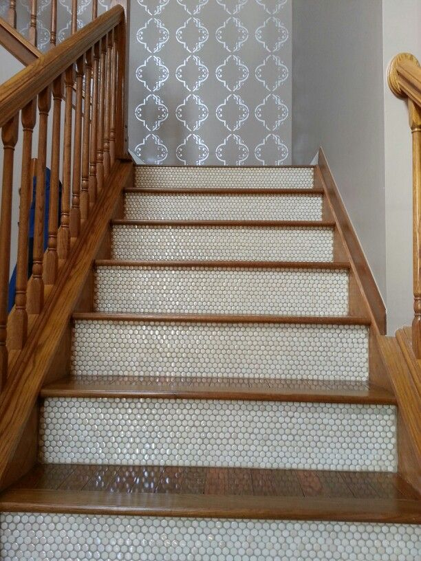 Best Penny Tiled Stairs They Re Mine For The Home 400 x 300