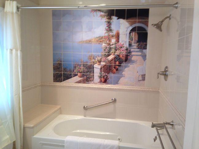Captivating Italian Scenic Tile Mural For Windowless Shower Remodel