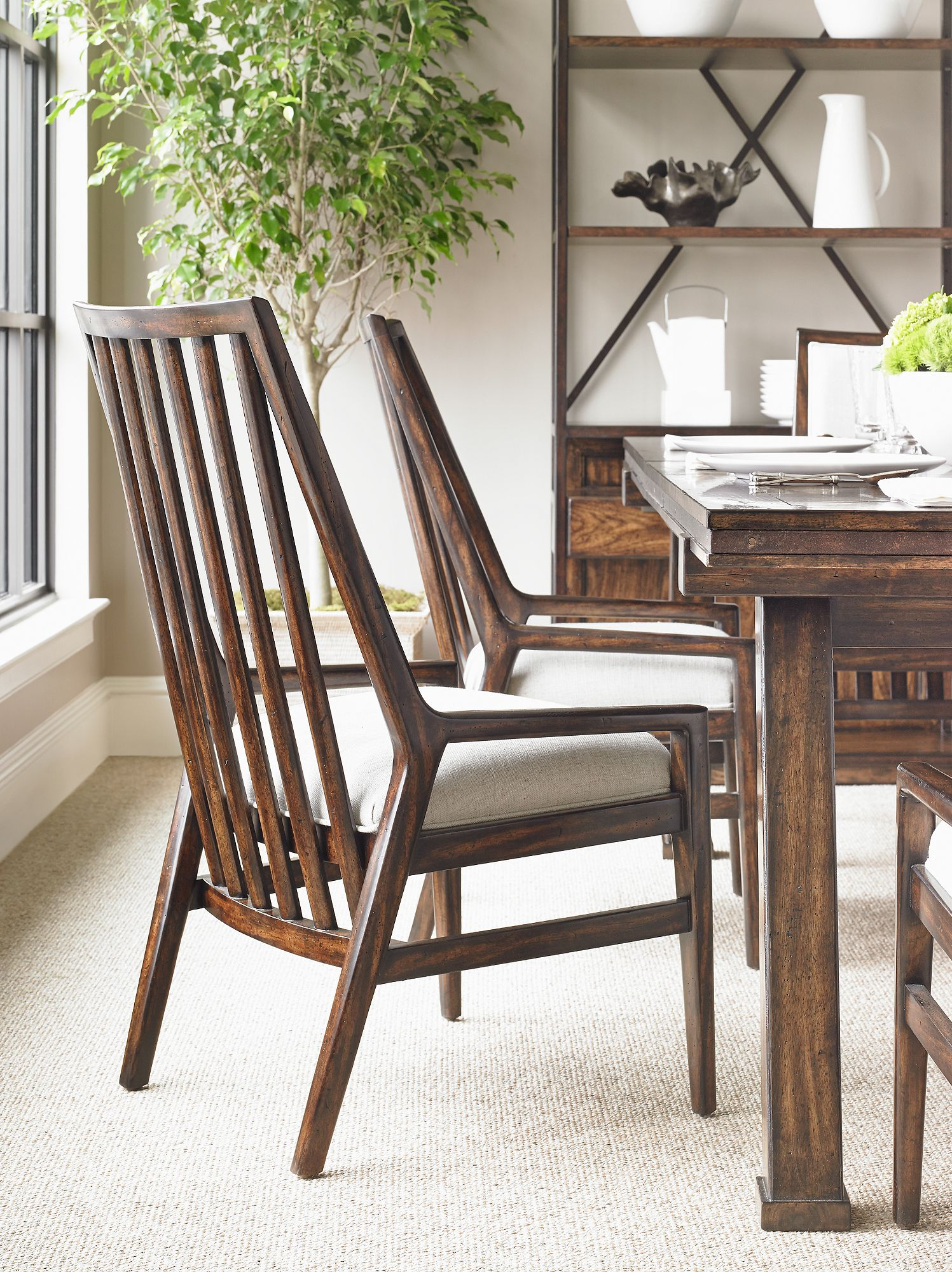 The Neutral Nubby Fawn Fabric On The Seat Of The Wood Back Chair Interesting Dining Room Chairs San Antonio 2018