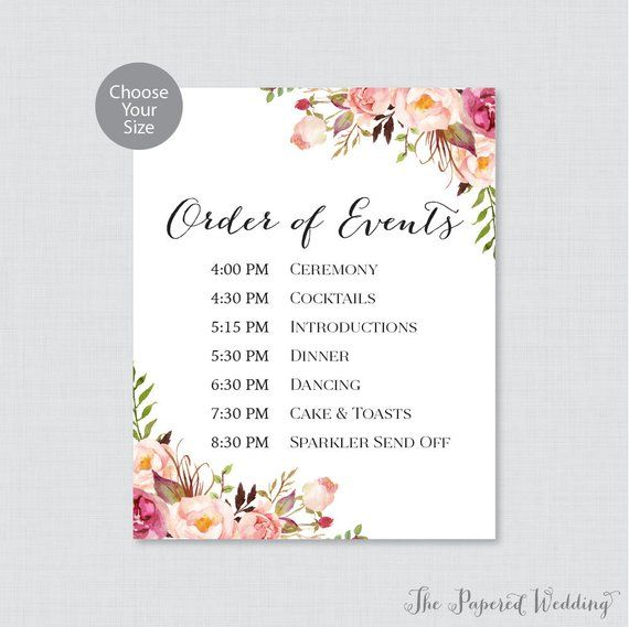 Wedding Reception Order Of Events.Printable Order Of Events Sign Pink Wedding Order Of Events Sign