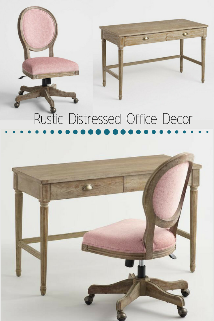 Made With American White Oak This Wood Distressed Office Set Is So Gorgeous And Brings The Perfect Touch Home Decor Rustic Furniture Furniture Update