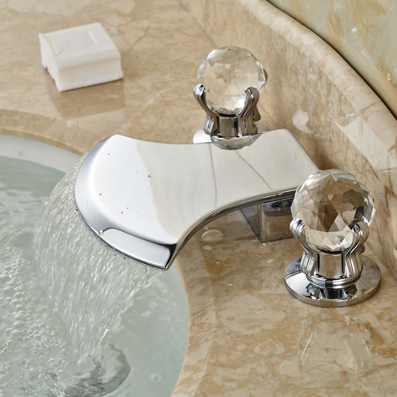 59.94$  Watch now - http://alimol.worldwells.pw/go.php?t=32558921047 - Polished Chrome Widespread Waterfall Bathtub Basin Sink Faucet Deck Mount Cristal Handles Mixer Taps