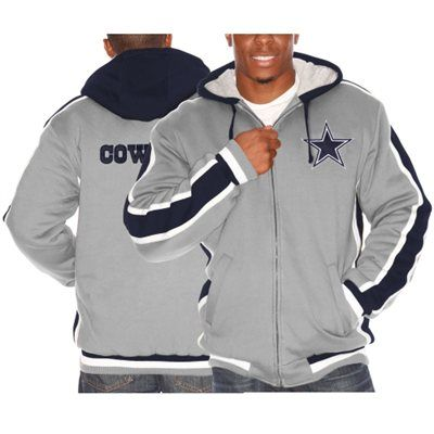 newest 3e99d 437b3 Mens Dallas Cowboys Gray Full Zip Hooded Jacket | My Boyz ...